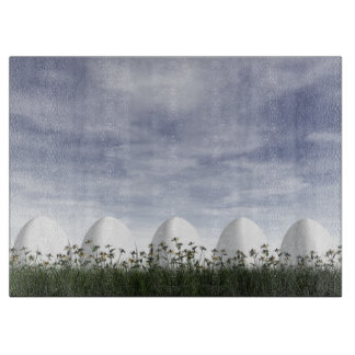 Easter eggs in nature by cloudy day - 3D render Boards