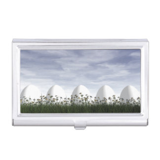 Easter eggs in nature by cloudy day - 3D render Business Card Holder