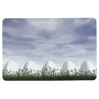 Easter eggs in nature by cloudy day - 3D render Floor Mat