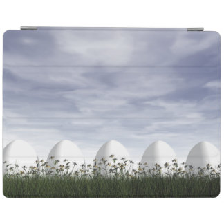 Easter eggs in nature by cloudy day - 3D render iPad Cover