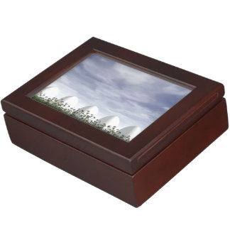 Easter eggs in nature by cloudy day - 3D render Keepsake Box