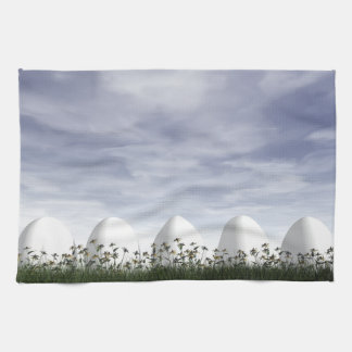 Easter eggs in nature by cloudy day - 3D render Kitchen Towel