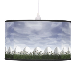 Easter eggs in nature by cloudy day - 3D render Pendant Lamp