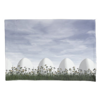 Easter eggs in nature by cloudy day - 3D render Pillowcase