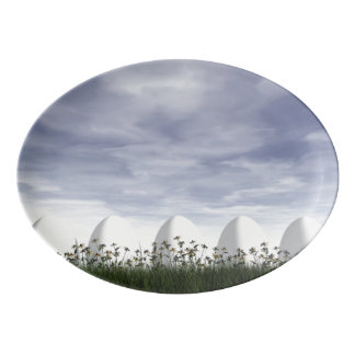 Easter eggs in nature by cloudy day - 3D render Porcelain Serving Platter