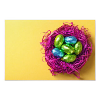 Easter Eggs In Pink Nest Photographic Print
