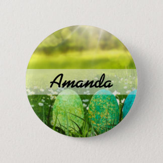 Easter Eggs in Spring Greens and Blues 2 Inch Round Button