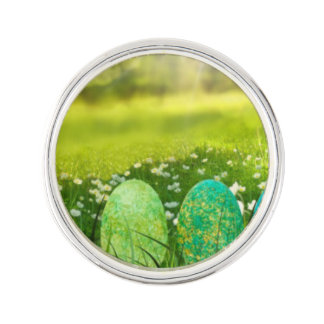 Easter Eggs in Spring Greens and Blues Lapel Pin