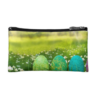 Easter Eggs in Spring Greens and Blues Makeup Bag
