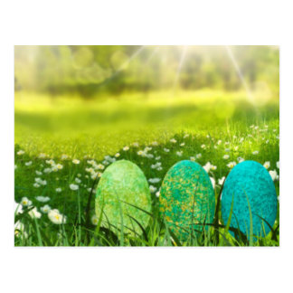 Easter Eggs in Spring Greens and Blues Postcard