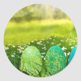 Easter Eggs in Spring Greens and Blues Round Sticker
