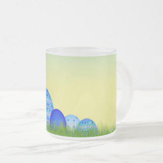 Easter eggs in the grass frosted glass coffee mug