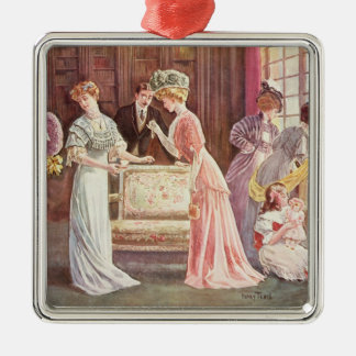 Easter Eggs in Town, 1908 Silver-Colored Square Ornament