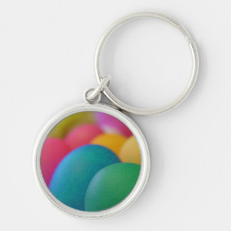 Easter Eggs Silver-Colored Round Keychain