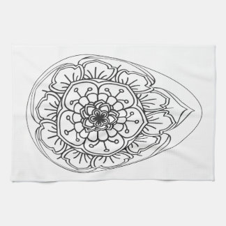 Easter eggs lined up with different mandala kitchen towel