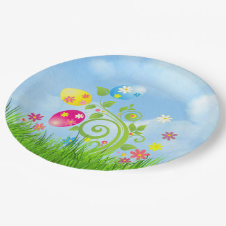 Easter Eggs on a Vine Paper Plate