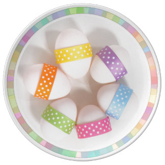EASTER EGGS PLATE, COLOR EGGS ON A PLATE PORCELAIN PLATES