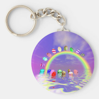 Easter Eggs Ride on a Rainbow Basic Round Button Keychain