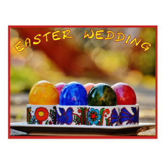 Easter eggs save the date postcard
