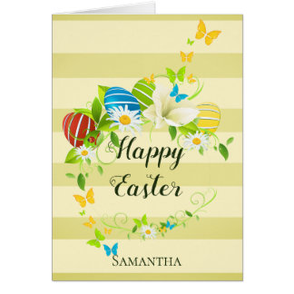 Easter Eggs Spring Flowers and Butterflies Wreath Card