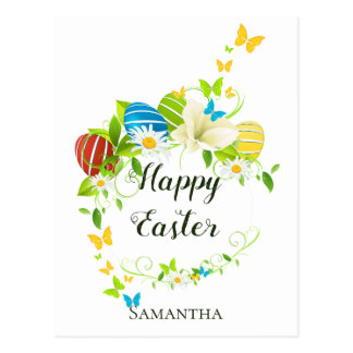 Easter Eggs Spring Flowers and Butterflies Wreath Postcard