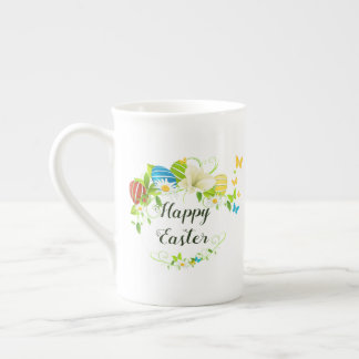Easter Eggs Spring Flowers and Butterflies Wreath Tea Cup