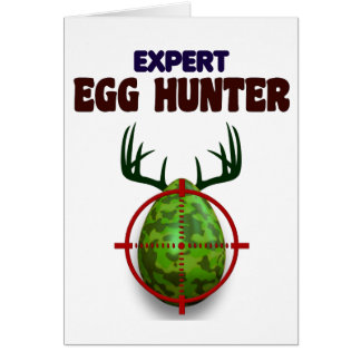 Easter expert Hunter, egg deer target shooter, fun Card