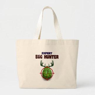 Easter expert Hunter, egg deer target shooter, fun Large Tote Bag