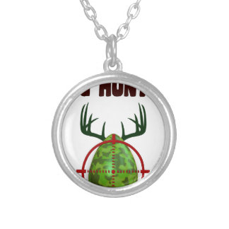 Easter expert Hunter, egg deer target shooter, fun Silver Plated Necklace