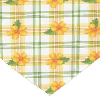 Easter Floral Yellow Green Plaid Short Table Runner