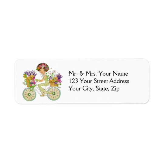 Easter Flowers Bicycle with Lab Puppies Return Address Label