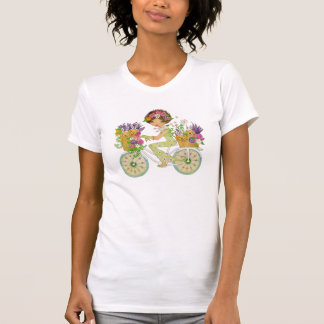 Easter Flowers Bicycle with Lab Puppies T-Shirt