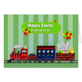 Easter - From All of Us! - Train/Bunnies/Balloons Card