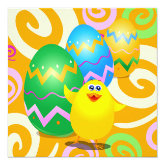 Easter funny chick, invitation