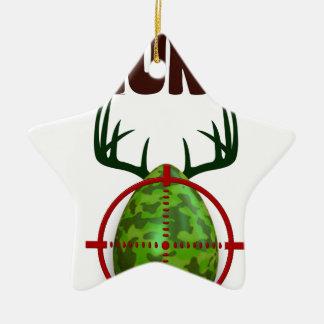easter funny design, Born to hunt deer egg shooter Ceramic Star Ornament