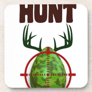 easter funny design, Born to hunt deer egg shooter Drink Coasters
