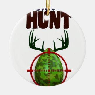 easter funny design, Born to hunt deer egg shooter Round Ceramic Ornament