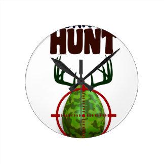 easter funny design, Born to hunt deer egg shooter Round Clock