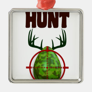 easter funny design, Born to hunt deer egg shooter Silver-Colored Square Ornament