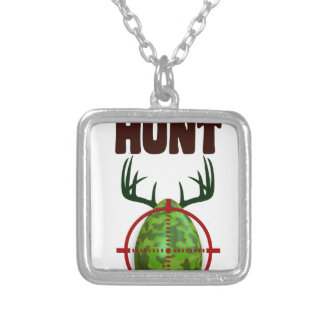 easter funny design, Born to hunt deer egg shooter Silver Plated Necklace