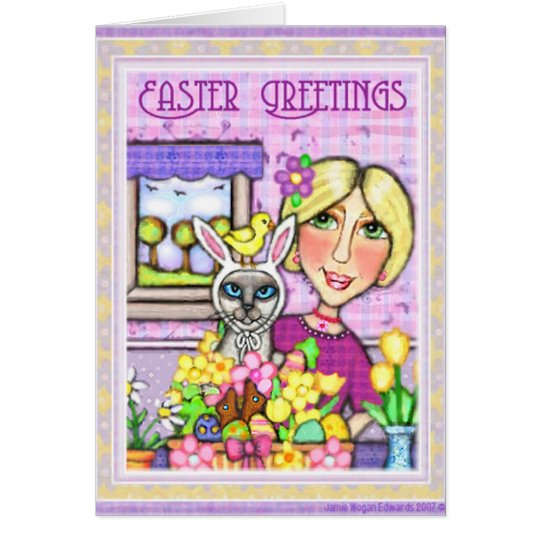 Easter Gift Basket Cat & Lady Greeting Card