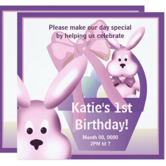 Easter Girl Bunny Birthday Party Invite