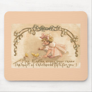 Easter- Girl Pink Dress Chicks - Antique Postcard Mouse Pad