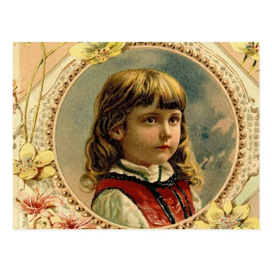 Easter girl victorian postcard