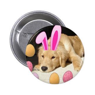 Easter Golden Retriever Pinback Buttons