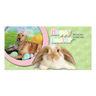 Easter - Golden Retriever - Molly Personalized Photo Card