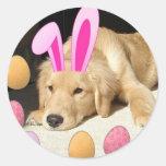 Easter Golden Retriever Round Stickers
