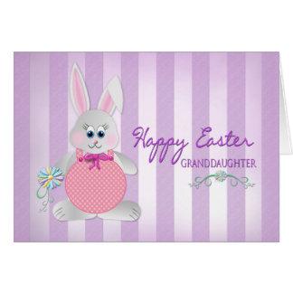 Easter - Granddaughter - Bunny - Purple Stripes Card