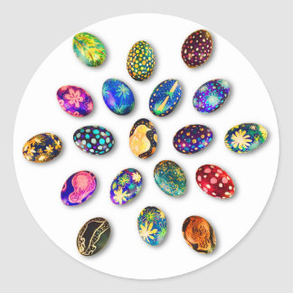 Easter Greeting Card Round Sticker