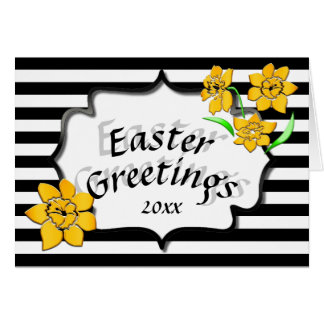 Easter Greetings Black Stripes Yellow Daffodils Card